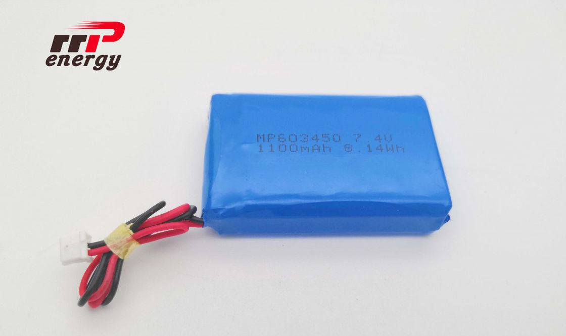 603450 7.4V 2S1P 1100mAh Lithium Polymer Battery CB IEC Prismatic 500 Cycles Life
